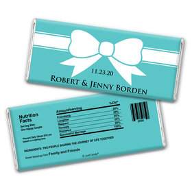Wedding Favor Personalized Chocolate Bar Wrappers Tiffany Theme Bow