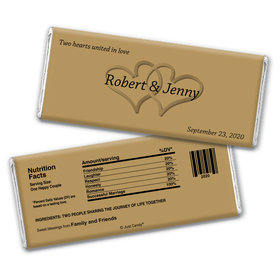 Wedding Favor Personalized Chocolate Bar Wrappers Two Hearts Gold