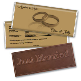 Wedding Favor Personalized Embossed Chocolate Bar Two Rings Gold