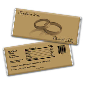 Wedding Favor Personalized Chocolate Bar Two Rings Gold
