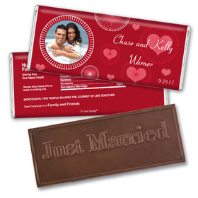 Wedding Favor Personalized Embossed Chocolate Bar Hearts and Bursts