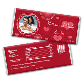 Wedding Favor Personalized Chocolate Bar Wrappers Hearts and Bursts