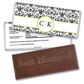 Wedding Favor Personalized Embossed Chocolate Bar Monogram Jacquard Pattern