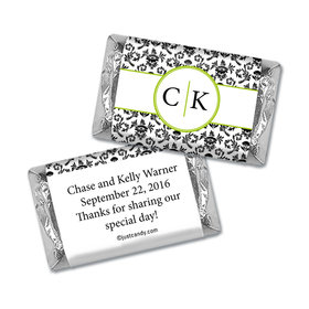 Wedding Favor Personalized Hershey's Miniatures Wrappers Monogram Jacquard Pattern