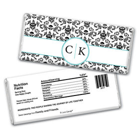 Wedding Favor Personalized Chocolate Bar Monogram Jacquard Pattern