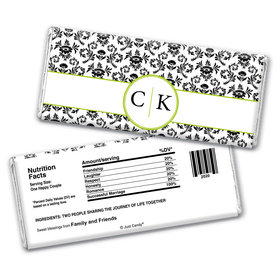 Wedding Favor Personalized Chocolate Bar Wrappers Monogram Jacquard Pattern