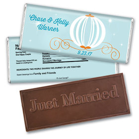 Wedding Favor Personalized Embossed Chocolate Bar Cinderella Inspired Carriage