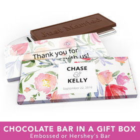 Deluxe Personalized Wedding Watercolor Flowers Chocolate Bar in Gift Box