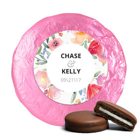 Personalized Wedding Watercolor Flowers Milk Chocolate Covered Oreo Cookies