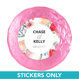 "Personalized Wedding Watercolor Flowers 1.25"" Sticker (48 Stickers)"