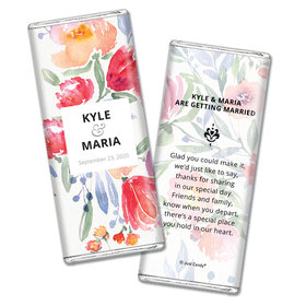 Personalized Chocolate Bar Wrappers Watercolor Flowers Wedding Favors