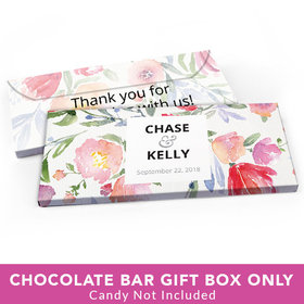 Deluxe Personalized Wedding Watercolor Flowers Candy Bar Favor Box