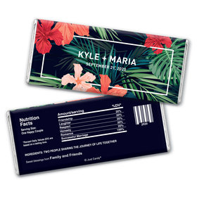 Personalized Chocolate Bar Wrappers Tropical Flowers Wedding Favors