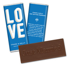 Embossed Just Married Bold Love Wedding Favors