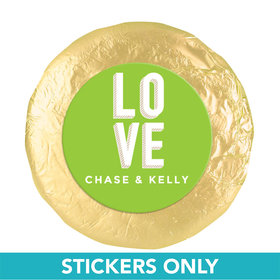"Personalized Wedding Bold Love 1.25"" Sticker (48 Stickers)"