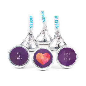 "Personalized 3/4"" Sticker Purple Heart Wedding Favors"