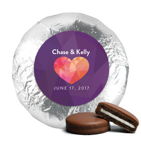 Personalized Wedding Purple Heart Milk Chocolate Covered Oreo Cookies with Silver Foil