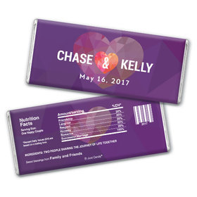 Personalized Chocolate Bar Purple Heart Wedding Favors