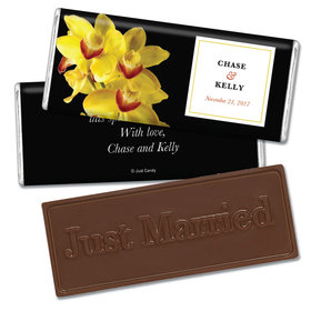 Embossed Just Married Yellow Flower Wedding Favors