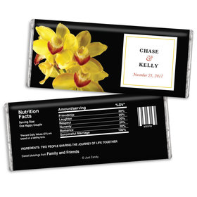 Personalized Chocolate Bar Yellow Flower Wedding Favors