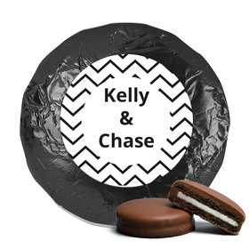 Personalized Wedding Chevron Party Milk Chocolate Covered Oreo Cookies with Black Foil (24 Pack)