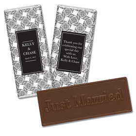 Embossed Just Married Love Knots Wedding Favors