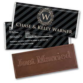 Wedding Favors Embossed Just Married Regal Stripes Chocolate Favor