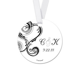 Personalized Round Heart Swirl Wedding Favor Gift Tags (20 Pack)