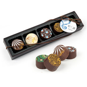Personalized Wedding Swirl Hearts Gourmet Belgian Chocolate Truffle Gift Box (5 Truffles)