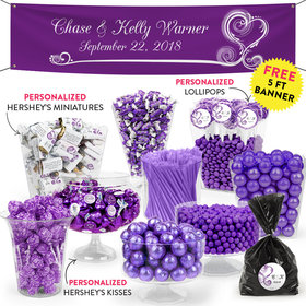 Personalized Wedding Purple Swirled Hearts Deluxe Candy Buffet