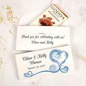 Deluxe Personalized Wedding Swirled Heart Godiva Chocolate Bar in Gift Box