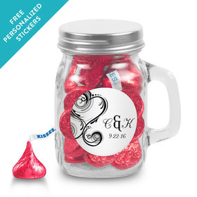 Wedding Favor Personalized Mini Mason Jar Formal Heart (12 Pack)