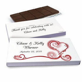 Deluxe Personalized Wedding Swirl Hearts Wedding Belgian Chocolate Bar in Gift Box (3oz Bar)