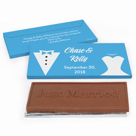 Deluxe Personalized Wedding Bride & Groom Chocolate Bar in Gift Box