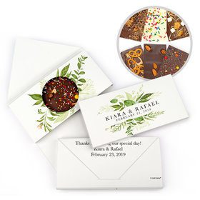 Personalized Wedding Whimsical Greenery Gourmet Infused Belgian Chocolate Bars (3.5oz)