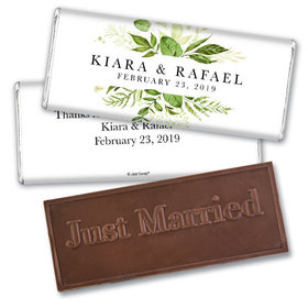 Personalized Wedding Botanical Greenery Embossed Chocolate Bar