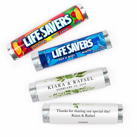 Personalized Wedding Whimsical Greenery Lifesavers Rolls (20 Rolls)