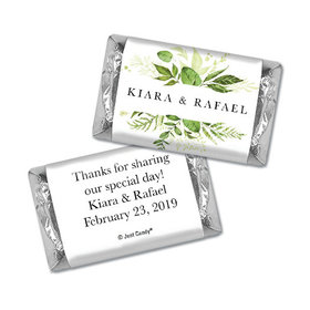 Personalized Wedding Hershey's Miniatures Wrappers Botanical Greenery