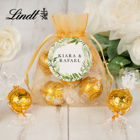 Personalized Wedding Lindt Truffle Organza Bag- Greenery