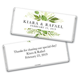 Personalized Wedding Botanical Greenery Chocolate Bar & Wrapper
