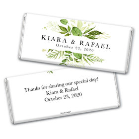 Personalized Wedding Botanical Greenery Chocolate Bar Wrappers