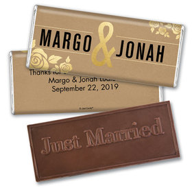 Personalized Wedding Golden Roses Embossed Chocolate Bar