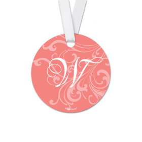 Personalized Round Wedding Filigree Favor Gift Tags (20 Pack)