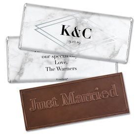 Personalized Wedding Geometric Marble Embossed Chocolate Bar & Wrapper