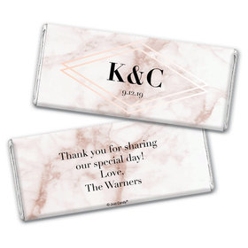 Personalized Wedding Geometric Marble Chocolate Bar & Wrapper