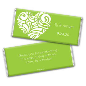 Personalized Wedding Modern Swirl Heart Chocolate Bar Wrappers
