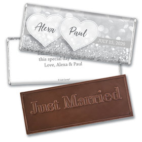 Personalized Wedding Glitz & Glam Embossed Chocolate Bar & Wrapper