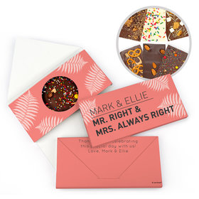 Personalized Wedding Mr. And Mrs. Right Gourmet Infused Belgian Chocolate Bars (3.5oz)