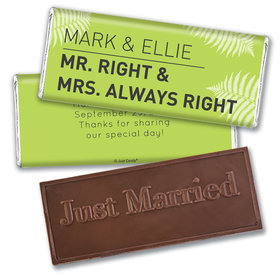 Wedding Favor Personalized Embossed Chocolate Bar Mr. And Mrs. Right