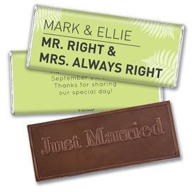 Personalized Embossed Just Married Wedding Favor Mr. And Mrs. Right Hershey's Chocolate Bar & Wrapper